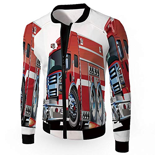 (iPrint Jackets Coats,Cars,Zipper Sportswear Patchwork Long Sleeve Coat,Big Fire Truck )