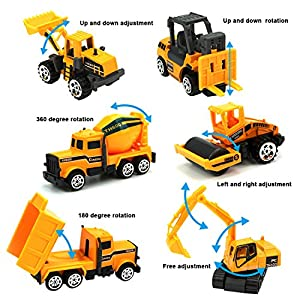 JellyDog Inertia Toy Early Engineering Vehicles Friction Powered Kids Dumper, Bulldozers, Forklift, Tank Truck, Asphalt Car And Excavator Toy For Children Kids Boys And Girls, Set of 6