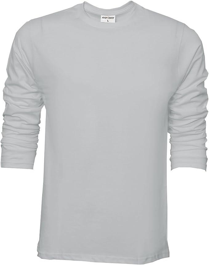 Camiseta básica de Raftaar® para hombre, de manga larga, 100% algodón ligero, color azul Gris gris XX-Large: Amazon.es: Ropa y accesorios
