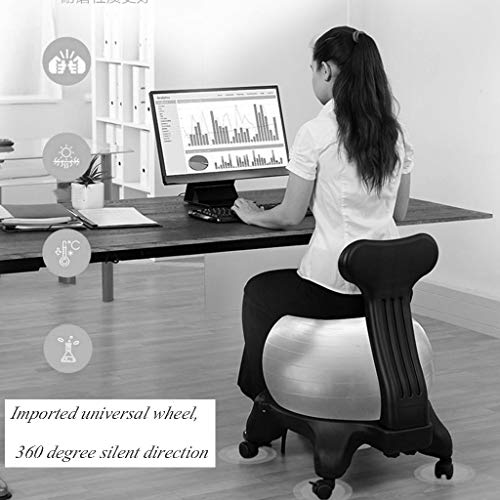 Sports & Fitness Yoga Ball Chair Office Yoga Chair Fitness Movable Massage Chair Home Seat Explosion-Proof Thickened Fixed Ball Stool (Load Bearing: 300kg) Exercise Ball Chairs by PHSP (Image #1)