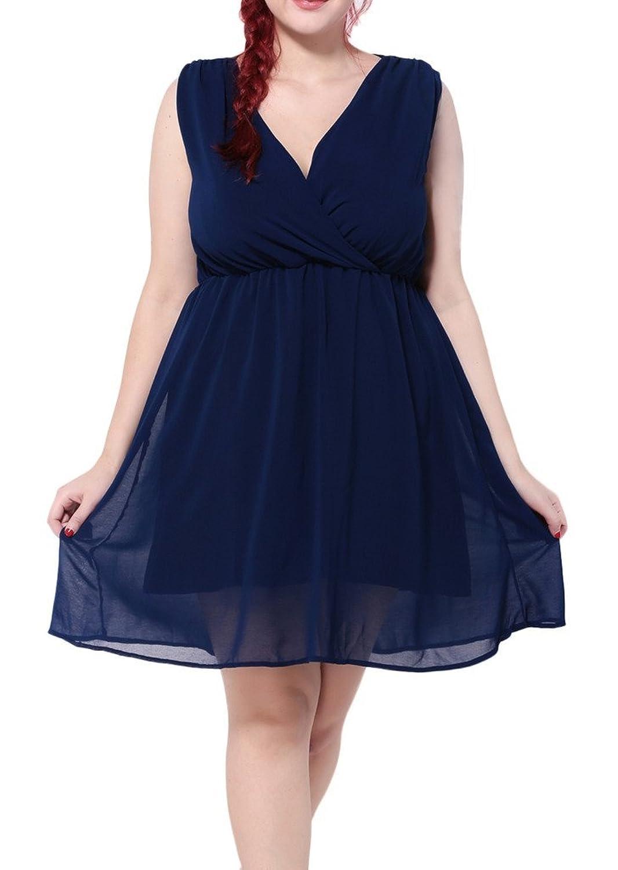 Bigood Plus Size V Kragen Ohne Armel Damen Minikleid Skaterkleid Cocktailkleid Blau
