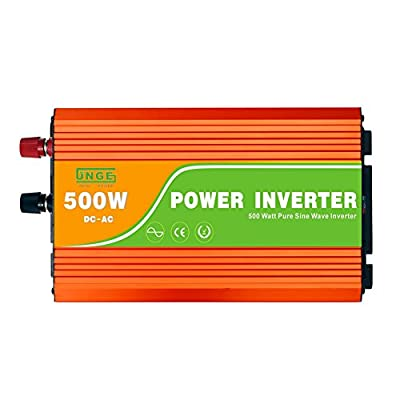 JNGE POWER 500W DC to AC Pure Sine Wave Solar Power Inverter with 5V USB and 120V AC output outlets