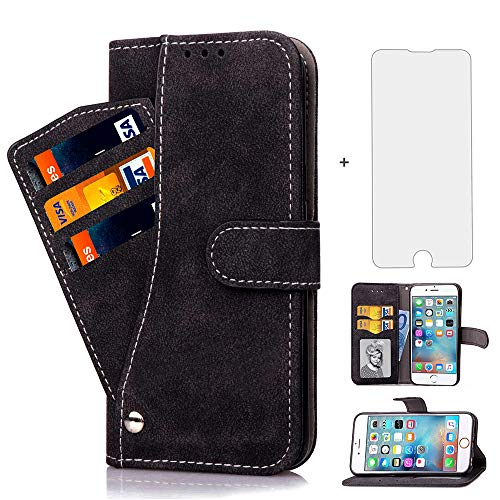 a16f90a6cf7 iPhone 6 plus/6S Plus Case i Phone Cases Wallet Leather with Tempered Glass  Screen