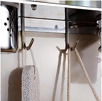 Ideas Home - acero inoxidable multifuncional baño organizador rack de almacenamiento Collection w/soporte de mesa & Soporte para secador de pelo y bote con ...