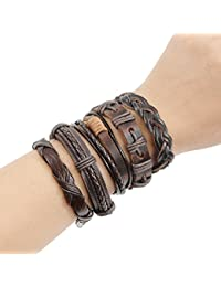 multi-style leather cord bracelets handmade leather cuff...
