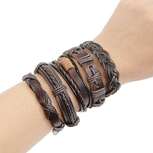 YUEAON multi-style leather cord bracelets handmade leather cuff with adjustable rope unisex ,5pcs