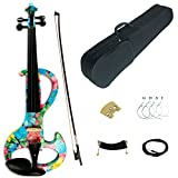 Kinglos 4/4 Blue Pink Flower Colored Solid Wood Intermediate-A Electric / Silent Violin Kit with Ebony Fittings Full Size (DSZA1002)