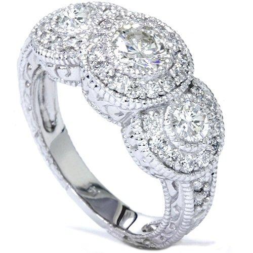 Sale 1 50ct Vintage Diamond Engagement Ring 3 Stone Antique Bezel