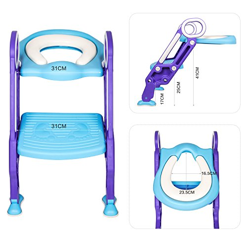 Children Potty Training Seat with Ladder - Adjustable Baby Toilet Trainer Seat with Step Stool Ladder and Soft Toilet Seat, Sturdy & Non-Slip, for Todderls Baby Children