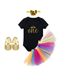 Baby Girls' 4PCs 1st Birthday Cake Smash Crown Romper Jumpsuit Tutu Skirt Princess Party Dress Outfits Headband Shoes Clothing set