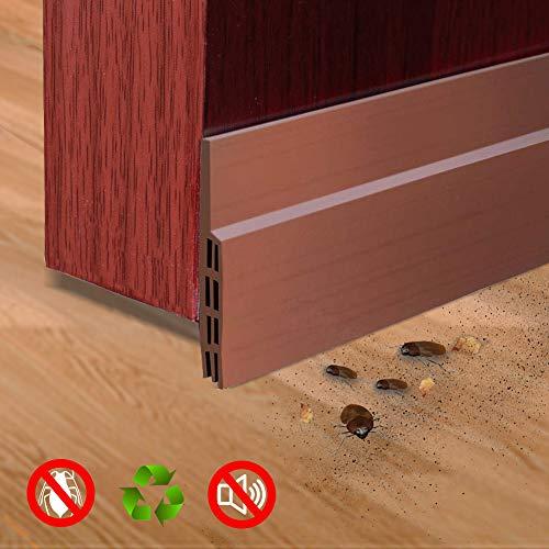 Door Sweep Door Draft Stopper Door Bottom Seal Strip Under Door Stopper Draft Guard Blocker for Home, Exterior, Storm, Interior Door Threshold Soundproof (1 Pack, Brown)