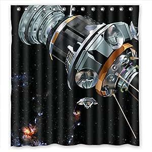 "Satellite In Deep Space Cool Waterproof Shower Curtain 66""(w) x 72""(h)"