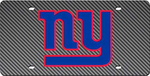 New York Giants CARBON FIBER Design Deluxe Laser Cut License Plate Tag Football