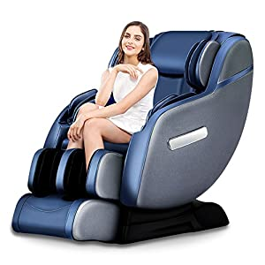2018 Real Relax New SL Track Robotic Zero Gravity Full Body Space-Saving Massage Chair Recliner with Foot Rollers and Bluetooth Audio Play