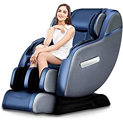 2018 3D Robotic SL-Track Real Relax Massage Chair, Premium Zero Gravity Full Body Space-Saving Recliner with Foot Rollers and Bluetooth Audio Play