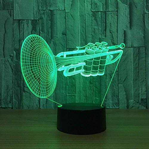 XYSQWZ 3D LED Night Light Trumpet Musical Instruments Shape Lamp Table Lamp 7 Colors Auto Changing Touch Switch Desk…
