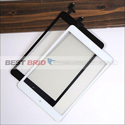 Envío libre de DHL para el iPad mini 1/2 blanco y Negro pantalla táctil de cristal digitalizador del sensor con conector chip IC + botón de inicio, ...