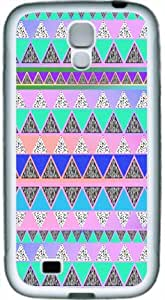 Cool Blue Aztec Pattern Back Cover for Samsung Galaxy S4 - TPU White