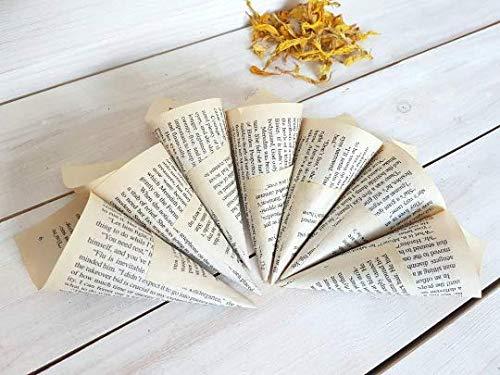 "100 Wedding Cones from Books, Already Assembled Petite Book Cones, Wedding Petal Toss Cones 5,5"" Set of 100 Cones"