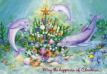 three dolphins red farm studios box of 18 tropical christmas cards - Tropical Christmas Cards