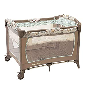 Baby Playard Portable Infant Play Yard Crib Playpen Foldable Bedside Bassinet Bed with Music Whirling Toys Double-Layer Durability Design Brake Wheels Newborn Baby Gift with Travelling Carrying Bag