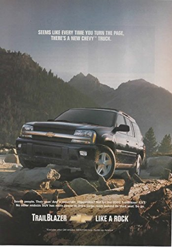 Amazon.com: Magazine Print Ad: 2003 Chevy TrailBlazer EXT SUV, Black, Seven People. Their Gear. And a Mountain. Impossible?: Entertainment Collectibles