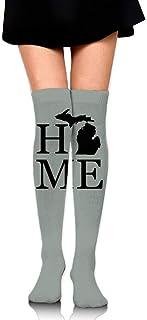 quanzhouxuhuixiefu Women's Knee High Compression Thigh High Socks Home Is Where The Michigan Is 50CM