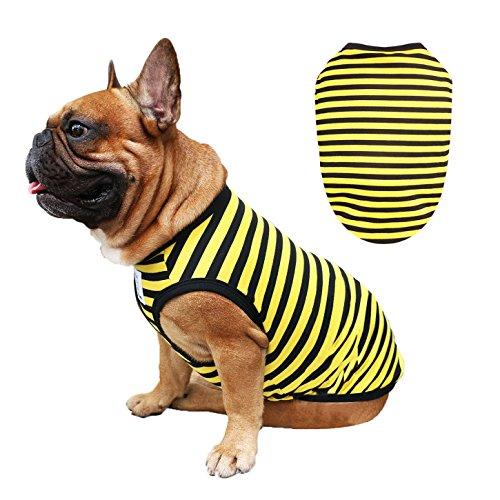 iChoue Dog Clothes Vest Tee Shirt for French Bulldog Pug Boston Terrier Frenchie- L Yellow Black Stripe