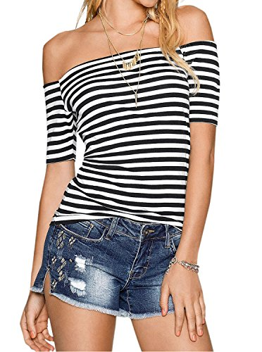 Adreamly Womens Sexy Off The Shoulder Striped Shirt Blouse Tops