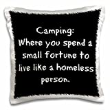 """3dRose pc_201957_1 Camping Where You Spend a Small Fortune Live Like a Homeless Person Pillow Case, 16"""" x 16"""""""