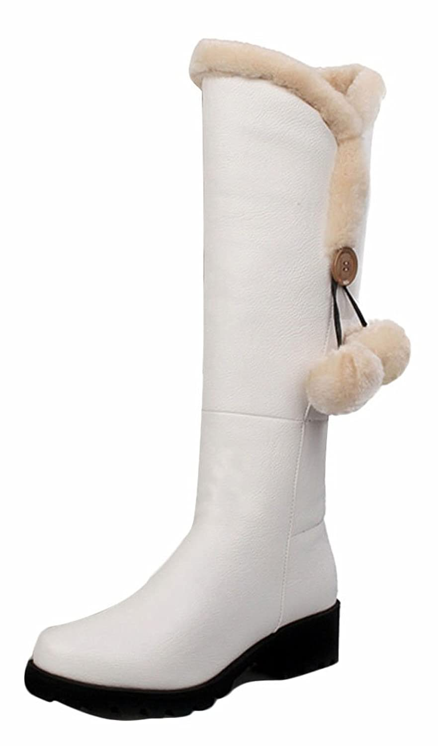 Ace Women's Winter Platform Flat Knee-high Thermal Knight Boots with Fur