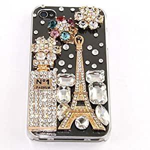 TLB Zircon Perfume Eiffel Tower Pattern Hard Case for iPhone 4/4S(Transparent)