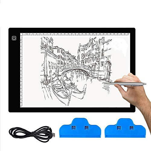A4 LED Trace Light Pad AFDEAL Light Table USB Power LED Tracing Light Board for Artists, Drawing, Sketching, Animation, Diamond Painting, X-Ray View, Tattoo, Quilting from AFDEAL