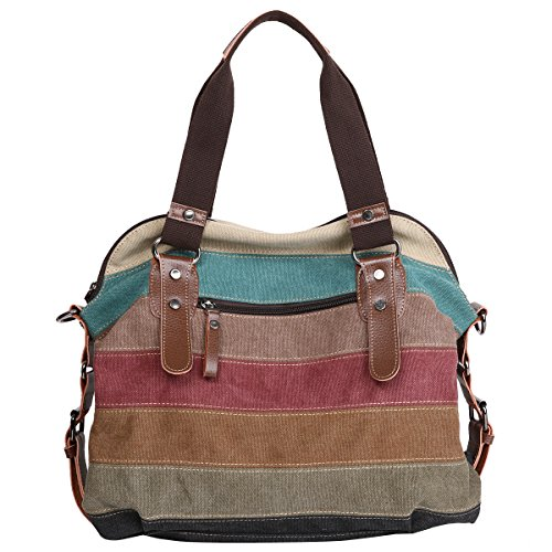 Handbag Crossbody Women's Hobos and 04 Striped Retro Multi Shoulder Eshow Bags Canvas Color Totes AXTWFwq