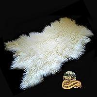 Faux Sheepskin Area Throw Rug Shaggy Shag Meadow Sheep White Long Hair Mongolian Fur (3x5)