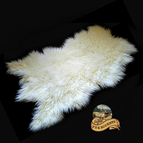 Faux Sheepskin Area Throw Rug Shaggy Shag Meadow Sheep White Long Hair Mongolian Fur (5'x8') by Fur Accents