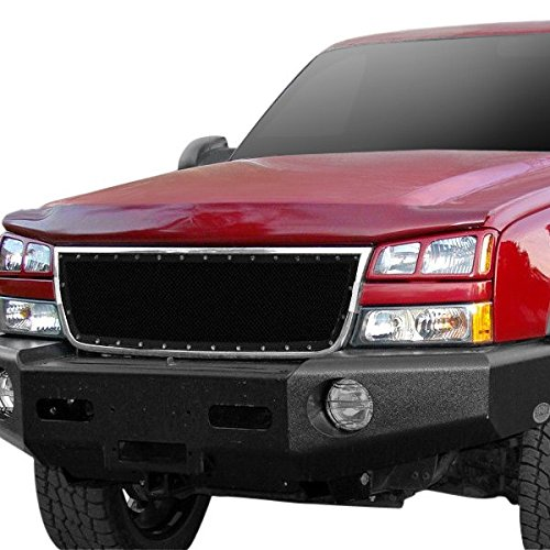 MPH Black Mesh Upper Grill Grille Insert Stainless Steel Rivet Style GG-011 for 05 - 06 Chevy Silverado 1500 HD / 2500 HD / 3500 HD / 07 Classic Style / 06 1500