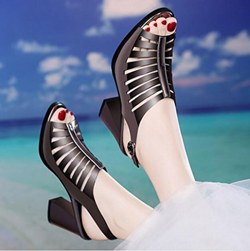 B Roman Fashion With shoes Shoes Sandals Sandals sandals Flat B Sexy Korean mouth Summer 40 Ms Fish Size sandals Sandals Heel Color 1Cxqw4ZxP