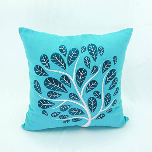 Peacock Throw Pillow Cover, Decorative Pillow Cover, Teal Linen Deep Blue Peacock, Accent Pillow, Embroidered Pillow, Teal Pillow Case (26 inch x 26 inch)