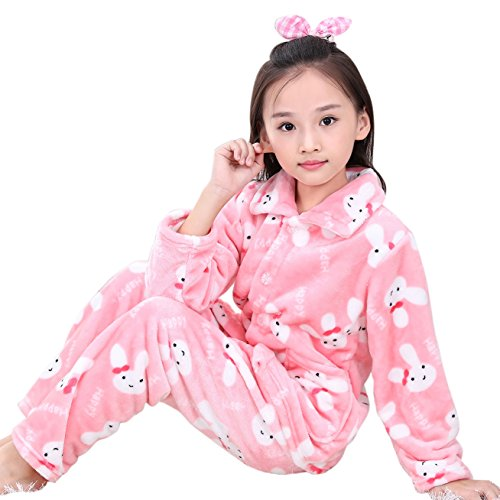 Autumn Winter Comfort Little Girl Pajamas Set for Girl Children's Costumes Flannel Pjs Set (7T/8T, Rabbit)