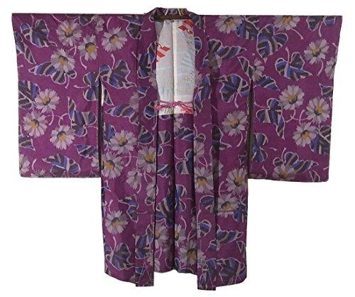 リサイクル 羽織 銘仙 雛菊の花模様 正絹 裄60.5cm 身丈94cm
