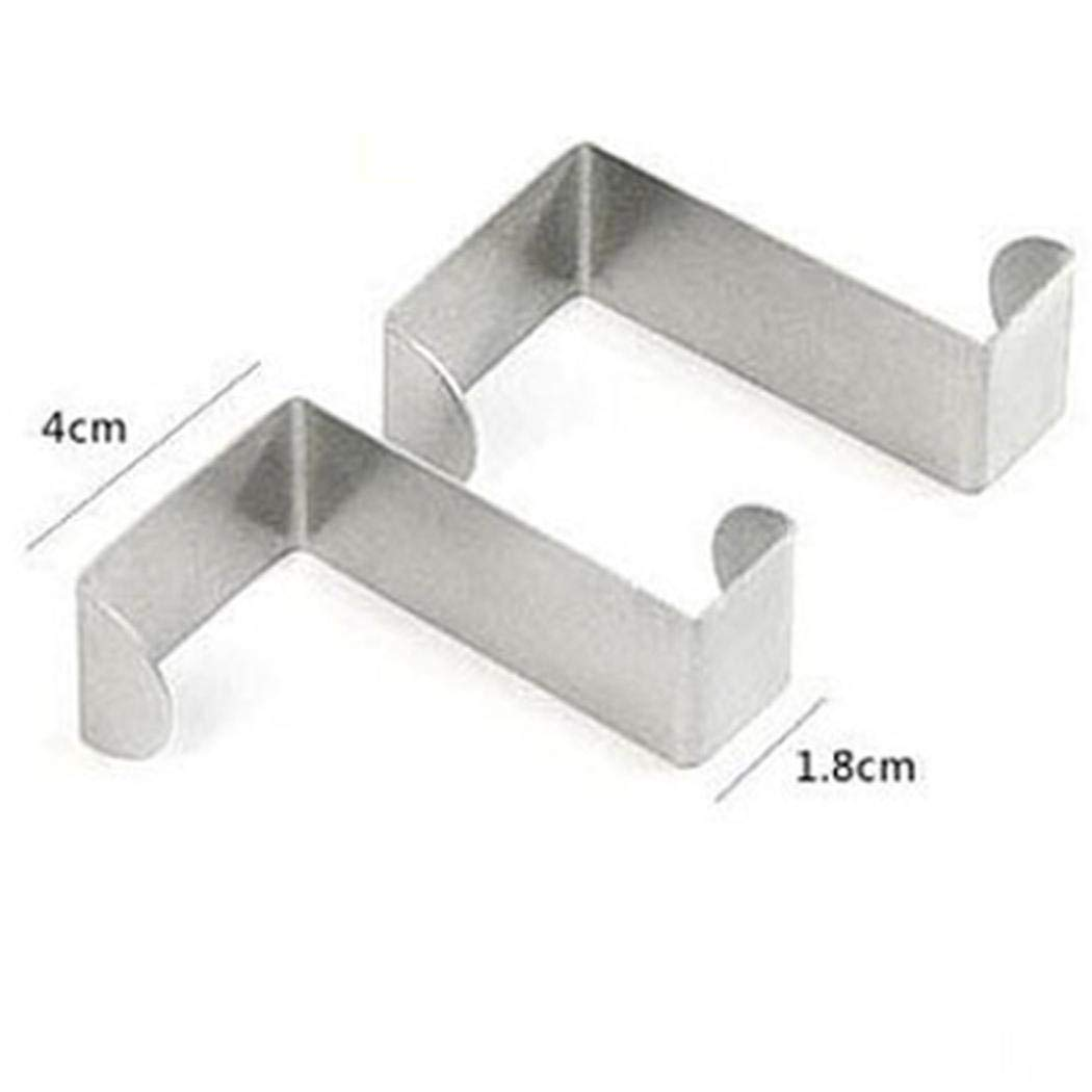 Yuutimko 2PC Stainless Steel Over Door Hooks Hanger Over Cupboard Hooks Drawer Hook Office Kitchen Silver, 2 * 4 * 6CM