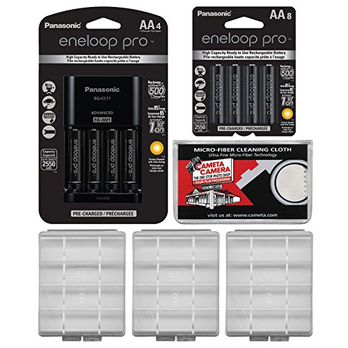 Panasonic eneloop Pro (4) AA 2550mAh Pre-Charged NiMH Rechargeable Batteries & Charger + (8) Extra AA Batteries + (3) Battery Cases + Kit ()