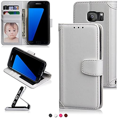 S7 Edge Case,Galaxy S7 Edge Case,Cooper GTV PU Leather Flip Wallet Leather Case with [Card Slot][Wrist Strap]Function for Samasung Galaxy S7 Edge(White) Sales