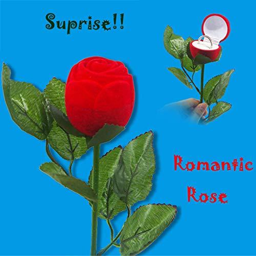 LtrottedJ Red Velvet Rose Engagement Wedding Earring Ring Pendant Jewelry Boxes Case