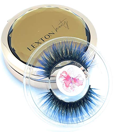 New.Colored Lashes, Ombre eyelashes. Beautiful Natural False Eyelashes Handmade Natural Cruelty Free False Eyelashes Reusable Pairs (Blue)