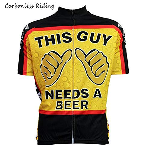 Men s Cycling Jersey This Guy Needs A Beer Short Sleeve Summer Bicycle  Clothing Quick Dry MTB Jersey Cycling Shirts (XXXLarge) 32262bbdc