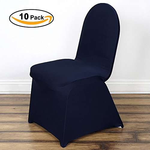 VEEYOO Set of 10 Universal Polyester/Spandex Fitted Stretch Chair Cover for Wedding Party Banquet Dining Room, Navy, Flat Front