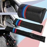 FidgetFidget Car Seat Belt Pad + Neck Cushion + seat Filler 3Pcs M Color Carbon Fiber for BMW