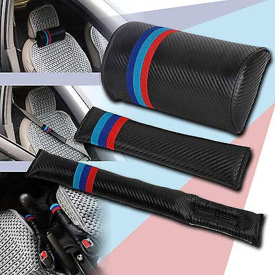 FidgetFidget Car Seat Belt Pad + Neck Cushion + seat Filler 3Pcs M Color Carbon Fiber for BMW